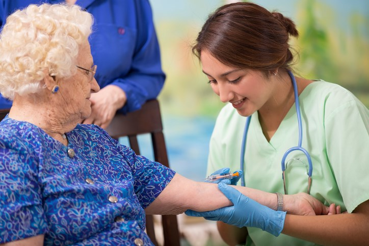 The high-dose influenza vaccine significantly reduced hospitalizations in elderly nursing home residents.